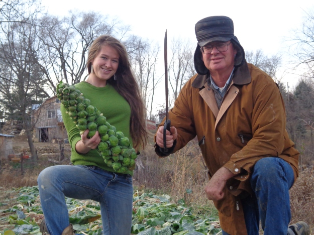 farmer and daughter brussel sprouts