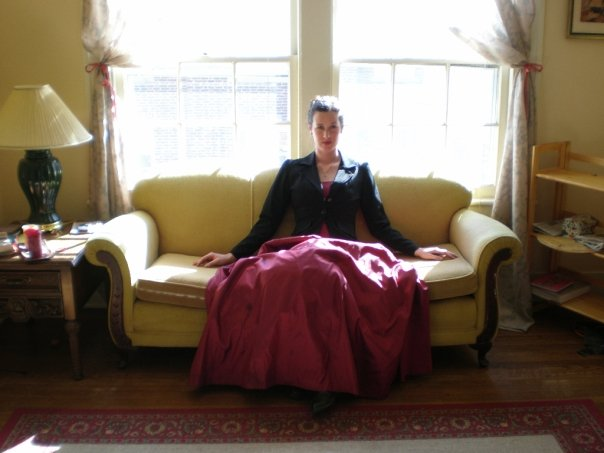 sophisticated city couch woman ballgown