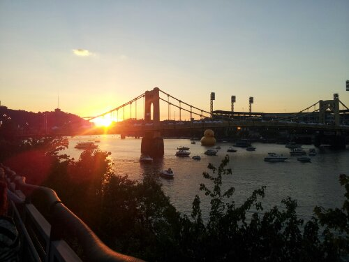 Pittsburgh Downtown big rubber duck sunset
