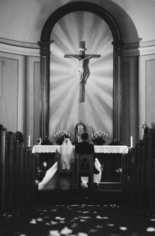 IMG_5639 sitting at church black and white